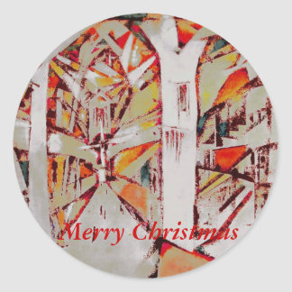 Christmas Cathedral Round Stickers