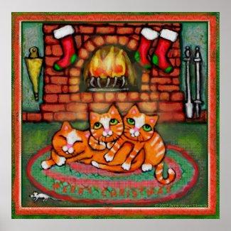 Christmas Cats Art Poster / Print print
