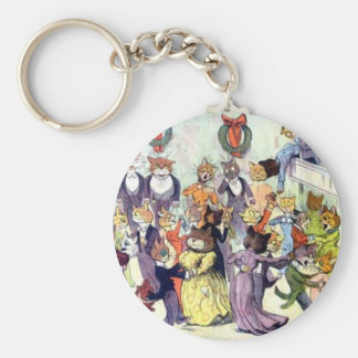 Christmas Cats Artwork by Louis Wain Basic Round Button Keychain
