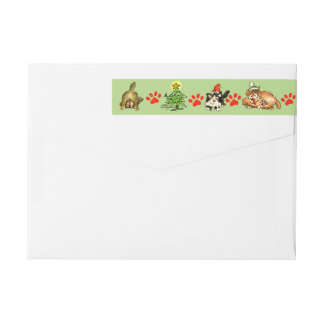 Christmas Cats Cartoon Return Address Labels