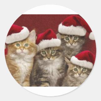 Christmas cats classic round sticker