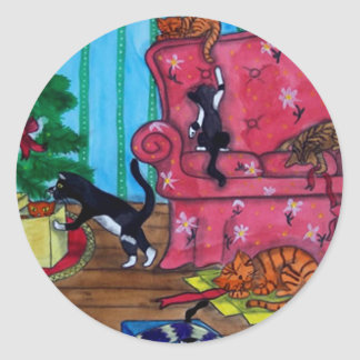 Christmas Cats Classic Round Sticker