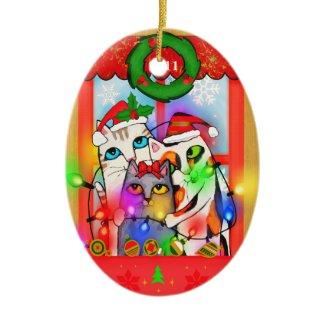 Christmas Cats Hang Holiday Lights Ornament ornament