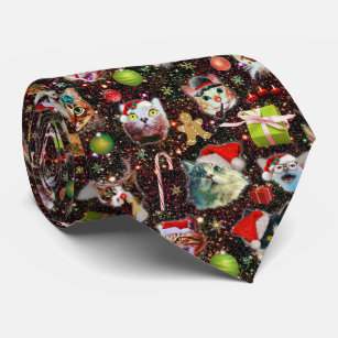 Christmas Tie.Christmas Cats In Space Galaxy Stars Funny Holiday Neck Tie