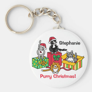 Christmas Cats Basic Round Button Keychain