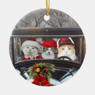 Christmas Cats on the Road Ceramic Ornament