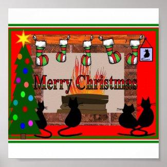 Christmas Cats Poster, Adorable print