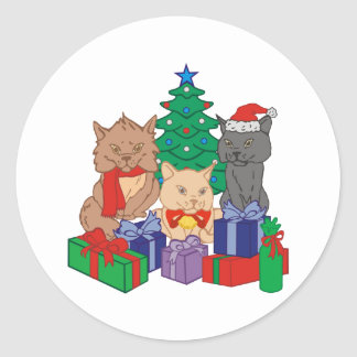Christmas Cats Round Stickers
