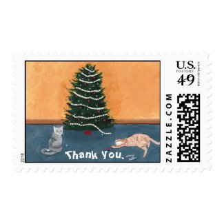 Christmas Cats Thank You Postage Stamps