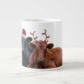 Christmas Cattle - Santa Hat and Antlers Giant Coffee Mug