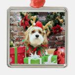 Christmas - Cavachon - Max Square Metal Christmas Ornament