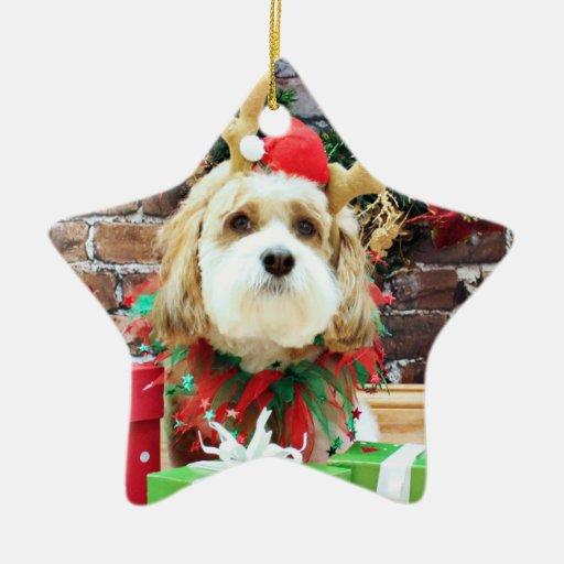 Christmas - Cavachon - Max Double-Sided Star Ceramic Christmas Ornament