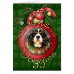 Christmas - Cavalier King Charles Spaniel - Bandit Greeting Cards