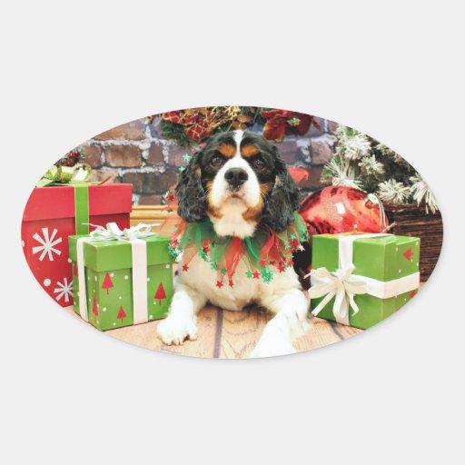 Christmas - Cavalier King Charles Spaniel - Bandit Oval Sticker