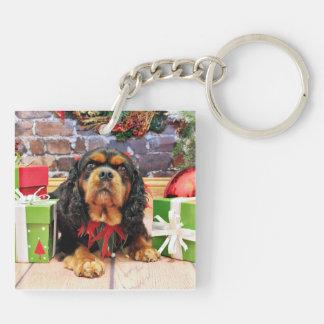 Christmas - Cavalier King Charles Spaniel SweetPea Double-Sided Square Acrylic Keychain