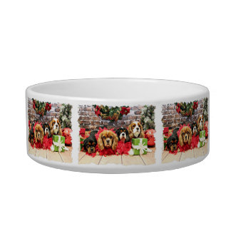 Christmas - Cavalier - Sweet Pea, Lily, Rose Poppy Cat Food Bowls