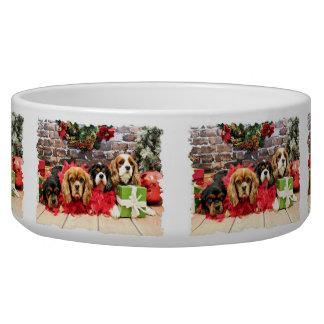 Christmas - Cavalier - Sweet Pea, Lily, Rose Poppy Dog Food Bowl