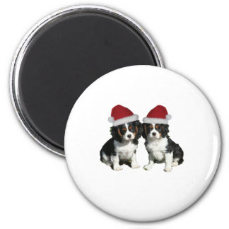 Christmas Cavaliers 2 Inch Round Magnet