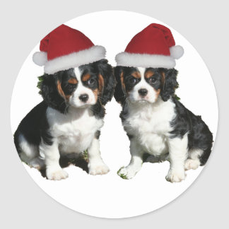 Christmas Cavaliers Classic Round Sticker