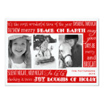 Christmas Celebration 3 Photo Collage Card | Red Announcement