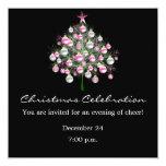 "Christmas Celebration Pink-Themed Invitation 5.25"" Square Invitation Card"