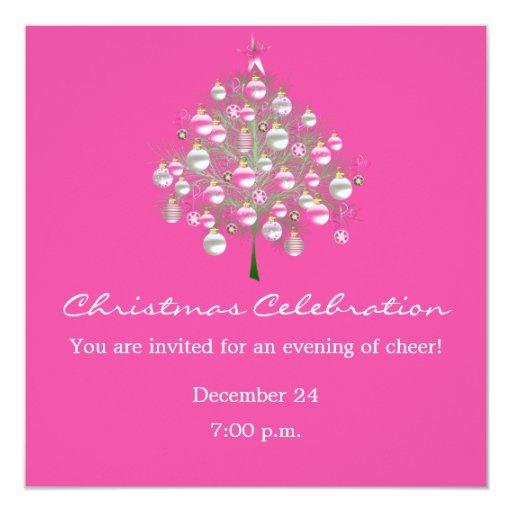 Christmas Celebration Pink-Themed Invitation