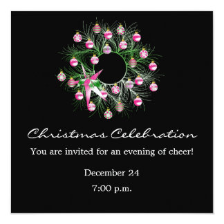 Christmas Celebration Pink Wreath (black) Card