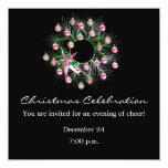 "Christmas Celebration Pink Wreath (black) 5.25"" Square Invitation Card"