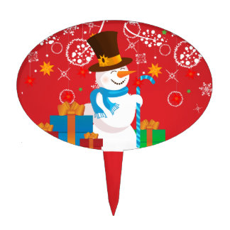 Christmas celebration. Snowman with gifts on red Cake Topper