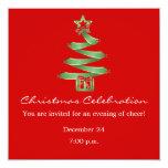 "Christmas Celebration X-Mas Tree 5.25"" Square Invitation Card"