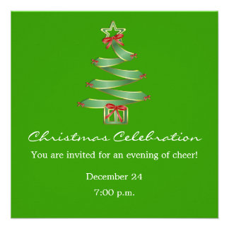 Christmas Celebration X-Mas Tree Personalized Invitations