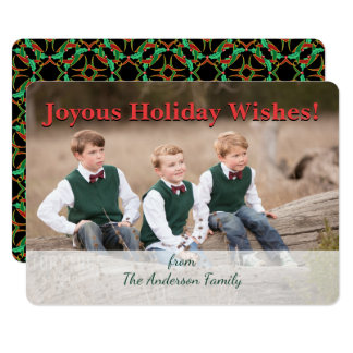 Christmas Celtic Holly Wreath Pattern Personalized Card