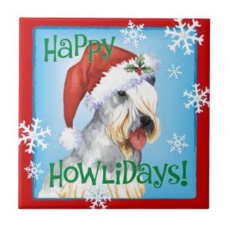 Christmas Cesky Terrier Ceramic Tile
