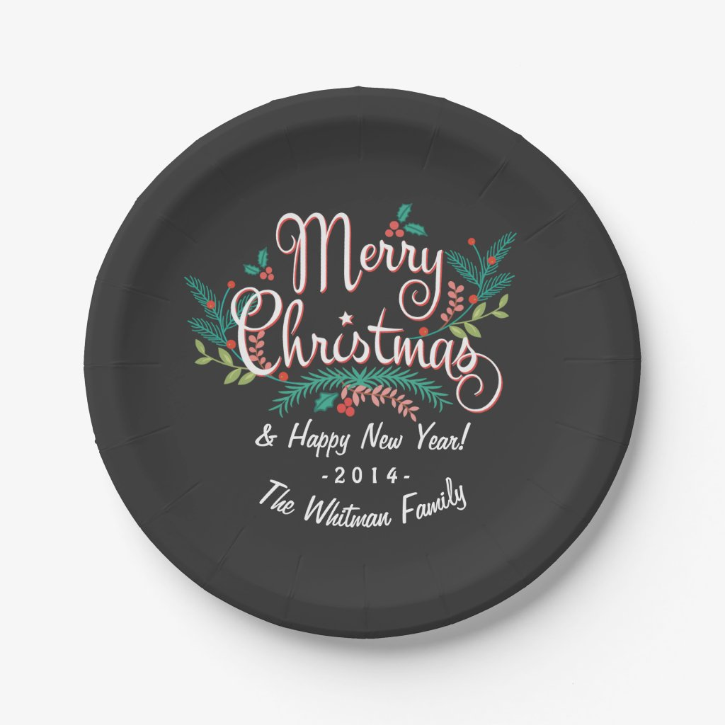 CHRISTMAS CHALKBOARD CUTE HOLLY AND BRANCHES PAPER PLATE