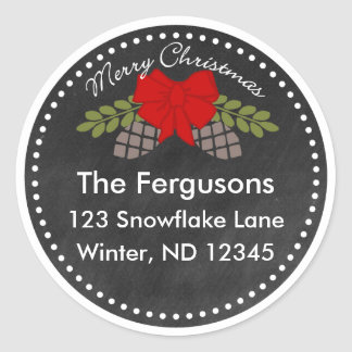 Christmas Chalkboard Pine Cones Address Label Classic Round Sticker