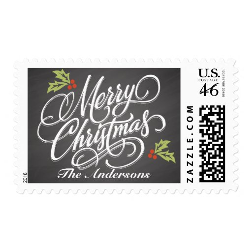 Christmas Chalkboard Script Calligraphy Postage