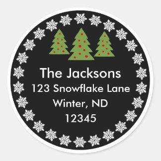 Christmas Chalkboard Snowflake Tree Address Label Classic Round Sticker