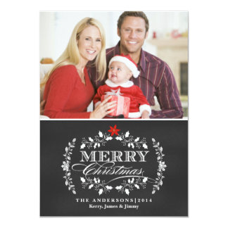 Christmas Chalkboard Typography Holly Photo Card Personalized Invitation