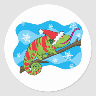 Christmas Chameleon Classic Round Sticker