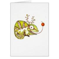 Christmas Chameleon Greeting Card