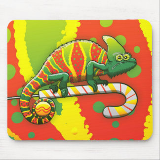 Christmas Chameleon Walking on a Candy Cane Mouse Pad