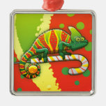 Christmas Chameleon Walking on a Candy Cane Square Metal Christmas Ornament