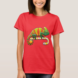 Christmas Chameleon Walking on a Candy Cane T-Shirt