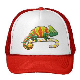 Christmas Chameleon Walking on a Candy Cane Trucker Hat