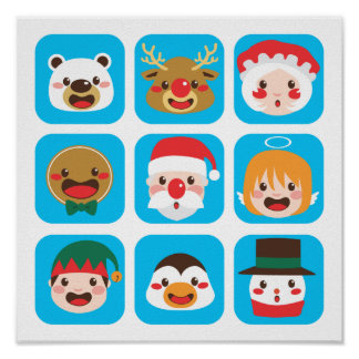 Christmas Character Faces Poster