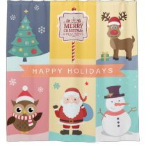 Christmas Characters Collection Snowman Santa Deer Shower Curtain