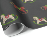 Christmas chaulkboard rocking horse wrapping paper