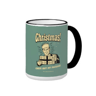 Christmas: Check Out My Package Ringer Coffee Mug