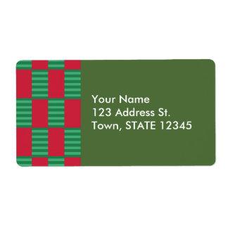 Christmas Checker Pattern Label