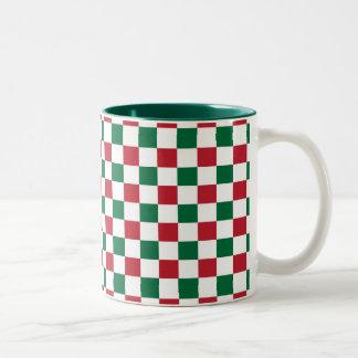 Christmas Checkerboard Two-Tone Coffee Mug